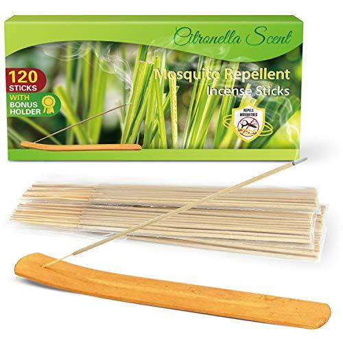 LA BELLEFÉE Citronella Räucherstäbchen Anti-Mücken für Outdoor, Garden und Camping 120 Stück, mit 1 x Räucherstäbchenhalter