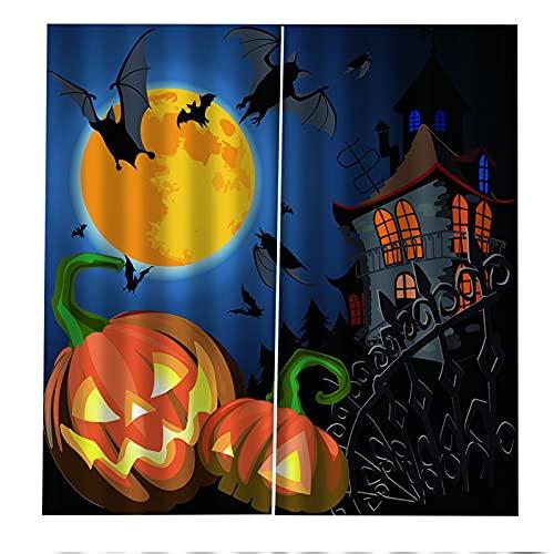 FACWAWF Decoración De Halloween Cortina Lámpara De Calabaza Sala De Estar 3D Dormitorio Balcón Decoración Cortina Habitación De Los Niños Insonorización Cortina Opaca Anti-UV 2xW140xH245cm