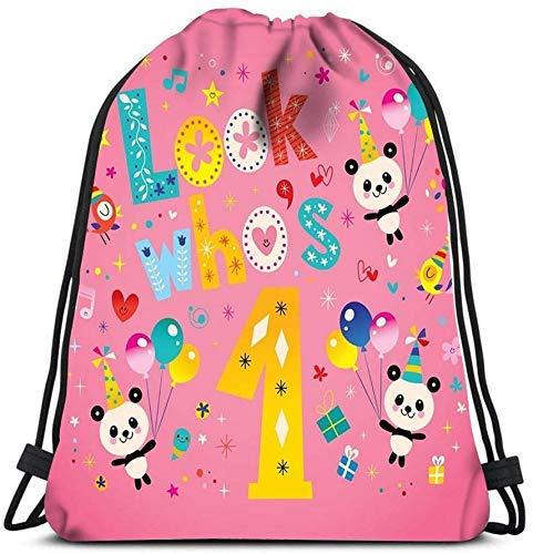 IUBBKI Kordelzug Rucksack, schauen Sie, wer eine erste Geburtstagskarte mit niedlichen Panda Bären Wäschesack Gym Yoga Tasche Aufbewahrungsbeutel