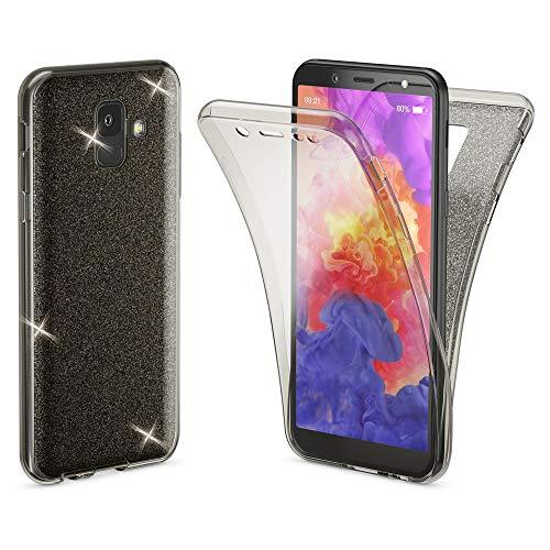 NALIA 360 Gradi Glitter Cover compatibile con Samsung Galaxy A6, Custodia Totale Protezione Silicone Trasparente Sottile Full-Body Case Protettiva Morbido Telefono Bumper Guscio, Colore:Nero