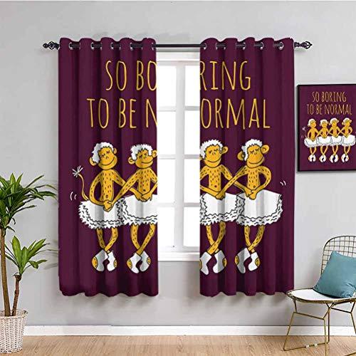 Decoración animal para el hogar cortinas de puerta corredera divertido bailarina bailando monos con tan aburrido para ser normal, impresión fácil de instalar Maroon Merigold W72 x L72 pulgadas