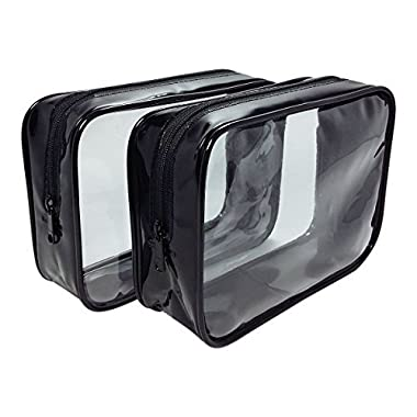 2-Pack TSA Approved Airline Compliant Carry On Travel Toiletry Clear Zipper Plastic Small Bag For Liquid Bottles Airplane Flight Backpack Luggage Men Women