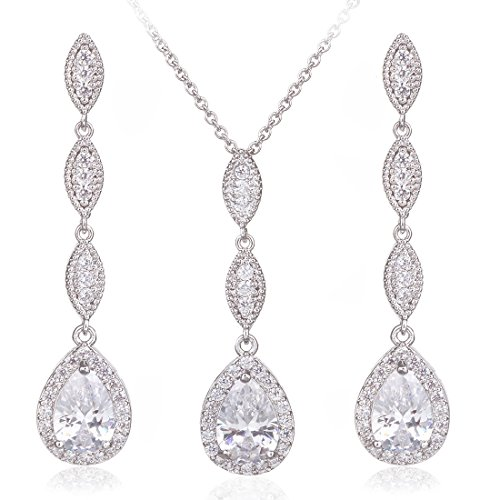 Wordless Love Teardrop Pear Shape CZ Necklace Pierced, White, Size No Size - coolthings.us