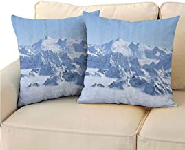 QIAOQIAOLO Pack of 2 Multifunctional Pillowcase Farmhouse Decor Easy to Care 14x14 inch Snowy Summit of Alps Over Clouds Scene at Winter Wilderness in Nature White Blue