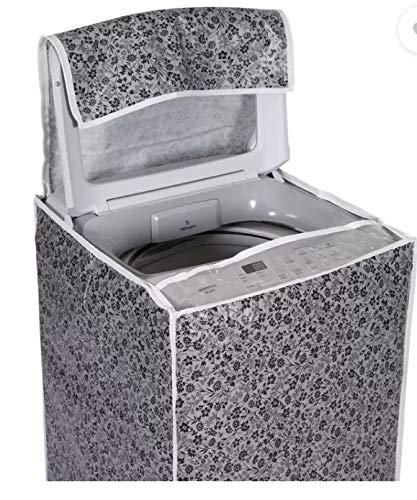 AMPEREUS Heavy Quality Top Load Washing Machine Cover Suitable for LG/Samsung ONLY Suitable Front Side Keypad 6 kg, 6.2 Kg, 6.5 Kg, 7 Kg (Black & Grey, 56X56X85)