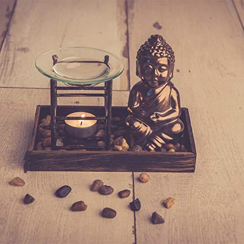 dszapaci Duftlampe Buddha Aromalampe Orientalisch Duftöllampe Aromabrenner Duftstövchen mit Glas verdunsterschale (Nr. 1)