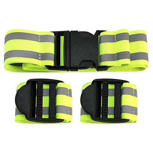 COM-FOUR® 3-delige set reflecterende banden, rekbare reflecterende banden met riem en armband, veiligheid tijdens joggen, fietsen en andere buitenactiviteiten (3 delen)