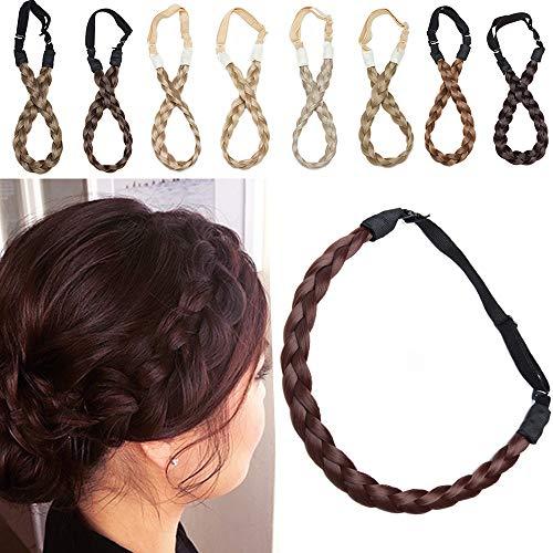 SEGO Bande Tressé Cheveux [3 Brins Largeur: 1.5cm] Ruban Stretch Bandeau Femme Élastique Postiche Synthetique Pièce Twist Fibres Flexible