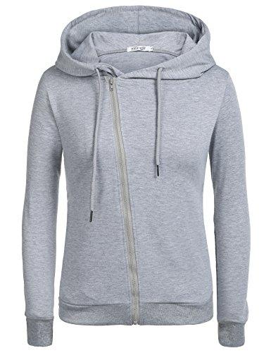 Beyove Damen Sweatjacke mit Zipper & Kapuze | Cooler Damen Hoodie - schräger Reißverschluss, Uni-Farben Grau XL
