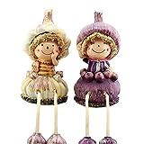 Home Kitchen Decorative Fruits & Vegetables Doll with Dangling Legs Shelf Sitter Figurine Statue for Shelf, Countertop, Windowsill(Garlic)