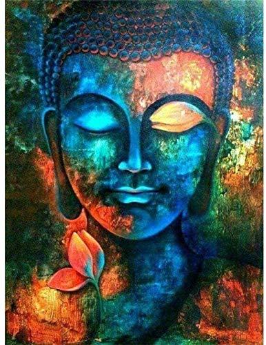 JIANGRC Malen Nach Zahlen für Erwachsene Anfänger Bunter Buddha-Kopf DIY Vorgedruckt Leinwand-mit Holzrahmen Ölgemälde Geschenk Handgemalt Gemälde Kits Home Haus Dekor-40x50cm