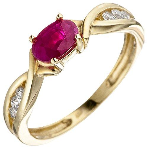 JOBO Damen Ring 333 Gold Gelbgold 1 Rubin rot 6 Zirkonia Goldring Rubinring Größe 58