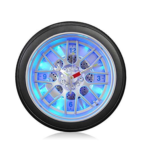 FAGavin Deko LED Nachtlicht Stumm Wanduhr Kreative Autoreifen Wohnzimmer Schlafzimmer Quarz Wanduhr Stumm Uhr (Size : S)