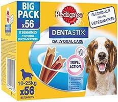 Pedigree Dentastix - Friandises pour moyen chien, 56 bâtonnets à mâcher pour l'hygiène bucco-dentaire (8 sachets de 7...
