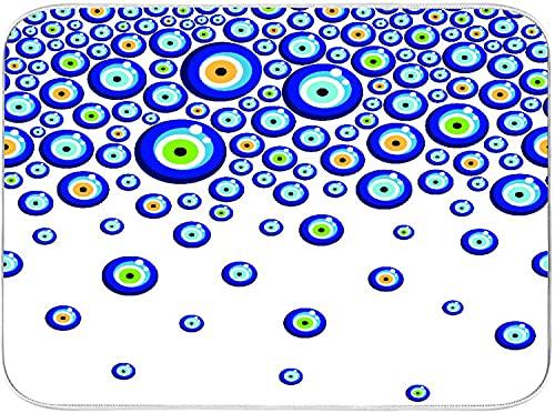 JISMUCI Alfombrilla de Secado de Platos Fondo de cuentas de ojo turco mal de ojo Cocina Almohadilla de Microfibra Seca Fácil de plega Lavable a máquina 40.6x45.7cm