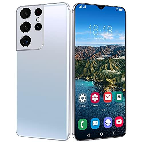 LIZONGFQ Versión Global más Nueva S21ULTRA 5G 16GB 512GB 6.7InCH Android11 Smartphone 6800mAh Pantalla Completa Deca Core LTE Network Teléfono,Blanco