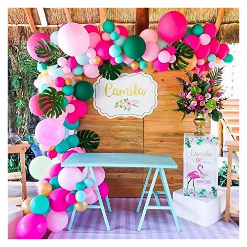 gzynyl Balloon 140pcs Tropical Balloon Garland Arch Kit for Hawaii Flamingo Party Decorations Birthday Party Luau Summer Beach Party Supplies (Color : 140pcs)