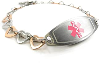 Pre-Engraved & Customized Womens Blood Type O Medical Bracelet Steel - Rose Hearts