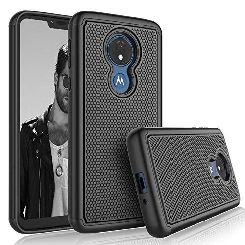 Moto G7 Power Case,Motorola Moto G7 Supra / G7 Optimo Maxx Sturdy Case, Tekcoo [Tmajor] Shock Absorbing [Black] Rubber Silicone & Plastic Scratch Resistant Bumper Grip Cute Hard Phone Cases Cover