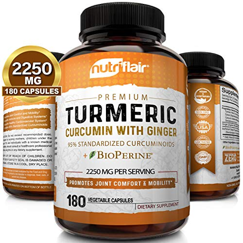 Turmeric Curcumin with Ginger & BioPerine Black Pepper Supplement :: Anti-Inflammatory, Antioxidant, Anti Aging :: 100% Natural, Non-GMO, Vegan Best Maximum Potency, No Side Effects (180 Capsules)
