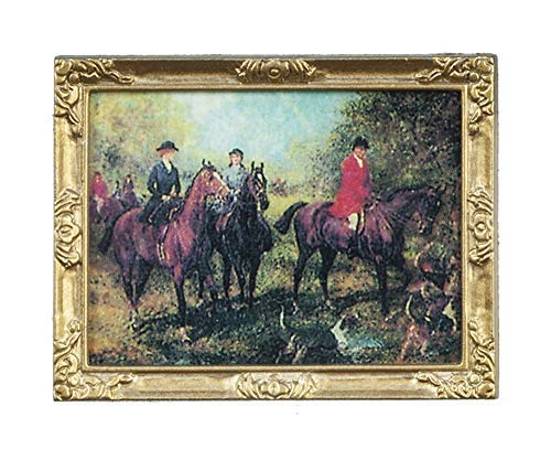 Melody Jane Dollhouse Victorian Hunting Scene Picture Painting Gold Framed 1:12 Miniature