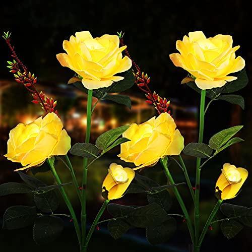 Sooair Lampada solare da giardino, 2 pezzi, lampada solare da giardino, con luci a LED a forma di rosa, lampada solare per esterni, decorazione per Natale e terrazzo, prato, giardino (giallo)