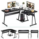 Computer Desk, HEEYUE L-Shaped Large Corner PC Laptop Study Table Workstation Gaming Writing Desk with Keyboard Tray for Home Office - Free CPU Stand - Wood & Metal - Black Wood Grain