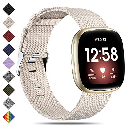 CeMiKa Correa Compatible con Fitbit Sense/Fitbit Versa 3, Banda de Tela Tejida Nylon de Repuesto Compatible con Fitbit Sense/Versa 3 para Mujer y Hombr, Pequeña Beige