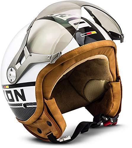 "SOXON® SP-325 Plus ""White"" · Jet-Helm · Motorrad-Helm Roller-Helm Scooter-Helm Moped Mofa-Helm Chopper Retro Vespa Vintage Pilot Biker Helmet · ECE 22.05 Visier Schnellverschluss Tasche L (59-60cm)"