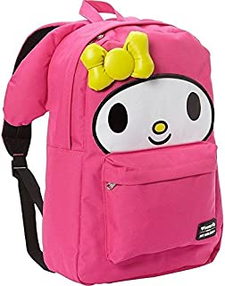Loungefly school backpack featuring Sanrio's My Melody character. Cute extras include 3d ears and bow with embroidered details. Bag has a roomy front pocket, interior laptop pocket and a patterned lining. Exterior has a top handle, reinforced adjustable straps and a zippered closure. Measurements: W: 11.5