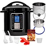 Deco Chef 8 QT 10-in-1 Pressure Cooker Instant Rice, Saut233, Slow Cook, Yogurt, Meats, Deserts, Soups, Stews Includes Recipe Book, Tempered Glass Lid, Mitts, Grill Rack, and Steaming Basket