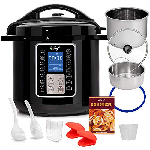 Deco Chef 10-in-1 Pressure Cooker 8QT, Digital, Instant, Rice Cooker, Saute, Slow Cook, Meats, Desserts, Soups, Stews, Includes Recipe Book, Tempered Glass Lid, Mitts, Grill Rack, and Steaming Basket