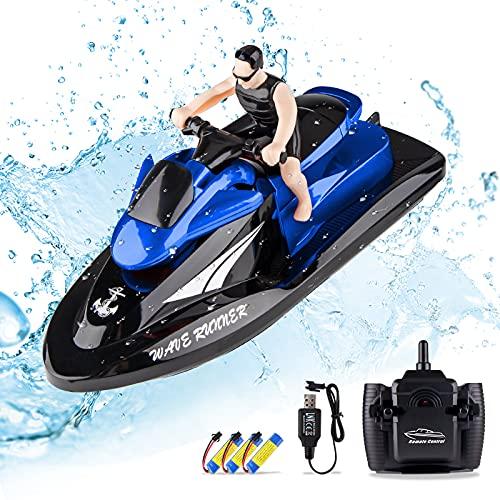 Sirecal RC Boot Fernbedienung Motorboot - 2,4 GHZ RC Boot Motorboot Schnellboot mit 3 Wiederaufladbaren Batterien Wasserspielzeug RC Boot für Kinder und Erwachsene