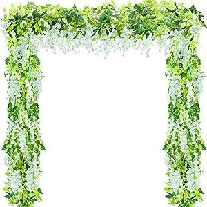 5 Pcs (Total 32.8Ft) Artificial Wisteria Garland Wisteria Vine Rattan Fake Wisteria Vine Flower Garland for Wedding Garden Outdoor Decor (White)