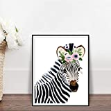 LPHMMD Lienzo Decorativo Pared Arte Pintura Floral Zebra Set Cute Floral Animal Wall Art Watercolour Woodery Nursery Decor Posters Impresiones Regalos para el hogar