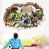 Dinosaurier Wandtattoo Wandaufkleber, Dinosaurier-Wandaufkleber 3D entfernbare PVC-Hauptwanddekor-Jungen und Mädchen Schlafzimmer, Dinosaurier Wandtattoo Kinder (B)