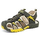 Geschlossene Sandalen Jungen Outdoor Sports Trekking Schuhe Atmungsaktiv Schnell Trocknend Unisex-Kinder Strand Schuhe rutschfest Breathable Grün Gr.32