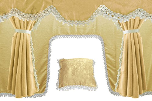 AutoCommerse - Juego de 5 cortinas de satén con borlas blancas para parabrisas + 2 ventanas laterales + cojín + cortina túnel universal para camiones HGV Camión BEIGE