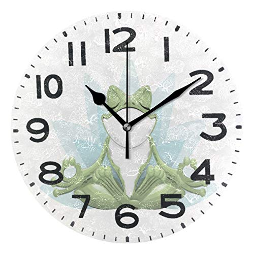 Naanle Funny Cute Frog Doing Yoga in Lotus Flower Printed Round Wall Clock Decorative, 9.5 Inch Battery Operated Quartz Analog Quiet Desk Clock for Home,Office,School