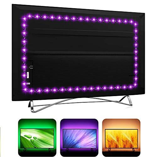 Tira de luces LED USB para televisores de alta definición SmartTV con mando a distancia de 24 teclas, 16 colores RGB5050 para decoración de salas de juegos, iluminación ambiental LED (1 m)