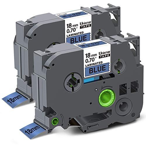 Unismar Compatible Label Tape Replacement for Brother TZe-541 TZ541 TZe541 for PTD400AD PTD400VP PT-D600 PTD600VP PT-P700 PT-P900W PT-2730 Label Maker, 3/4 in x 26.2 ft, Black on Blue, 2-Pack