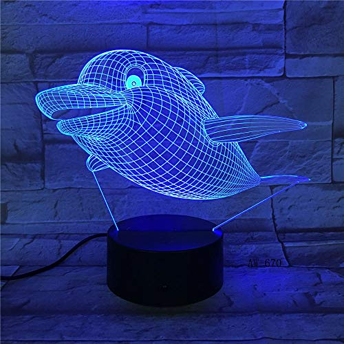 Meerestier 3D Lampe Fisch Shark Dolphins Visuelle Illusion Multicolor Farbverlauf Nachtlicht Wohnkultur Kinder Weihnachtsgeschenke Mit Einem USB-Controller Wiederaufladbare Kinder Ältere Nacht Nähr