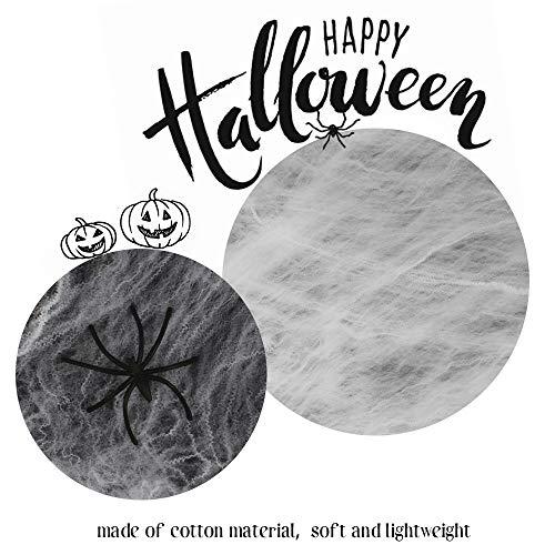 Ledoo Ragnatela, 2 Pezzi di Ragnatela di Halloween Possono Essere usati Come Decorazioni di Halloween, la Decorazione di Ragnatela Include 8 Ragni Neri e 8 Ragni Arancioni (Bianco e Nero)