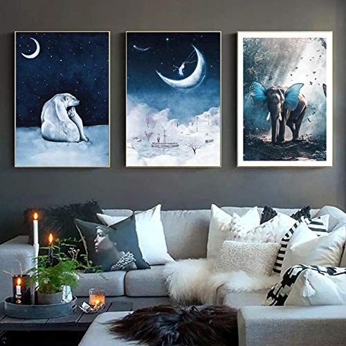 XIANGPEIFBH Foggy Winter Night Landscape Polar Bear Posters And Prints Butterphant Canvas Painting Wall Picture For Kid's Bedroom Home Decor 40x60cmx3pcs Unframed