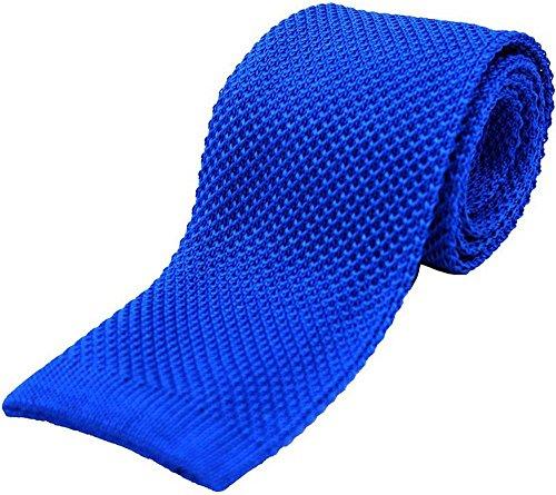 David Van Hagen Cravate bleu royal uni tricot Soie de