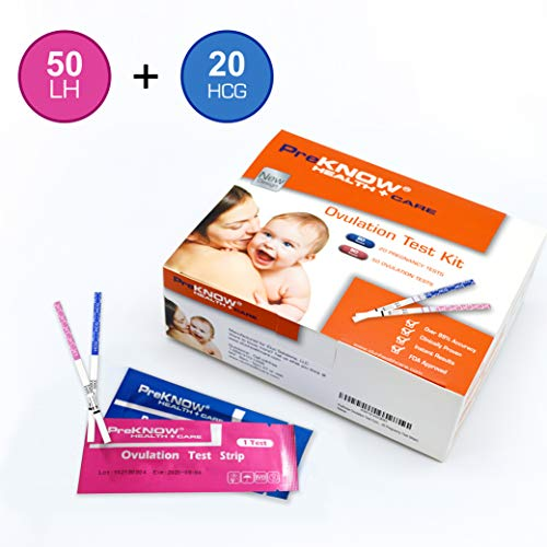 PreKnow 50 Ovulation Test Strips and 20 Pregnancy Test Strips Combo Kit (50 LH+ 20 HCG)