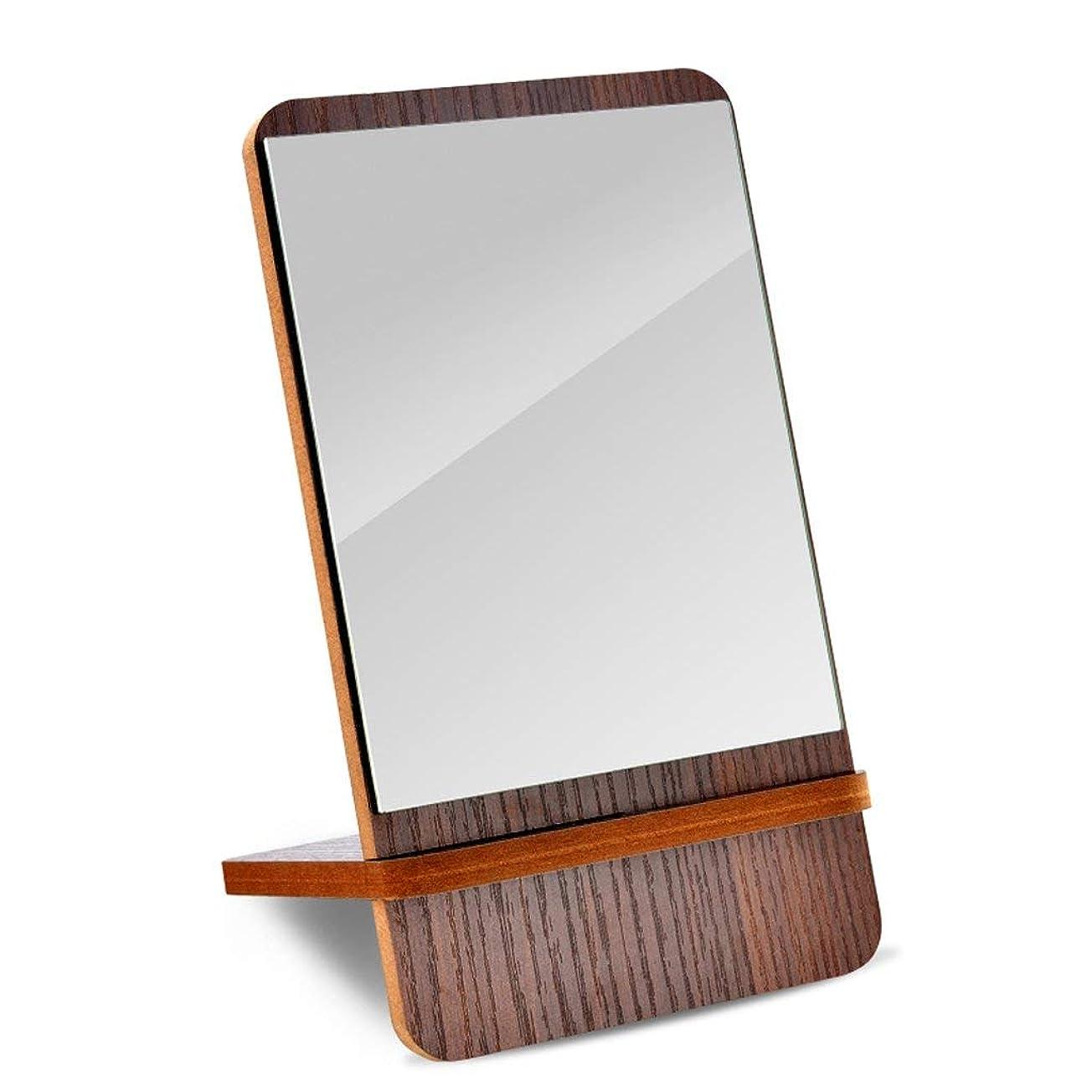 支配するデンマーク語キャンバス化粧鏡木製スクエアデスクトップシングルサイドHDシンプルバニティミラーリムーバブルポータブルトラベルシェービングミラー(サイズ:15 * 26.5cm)
