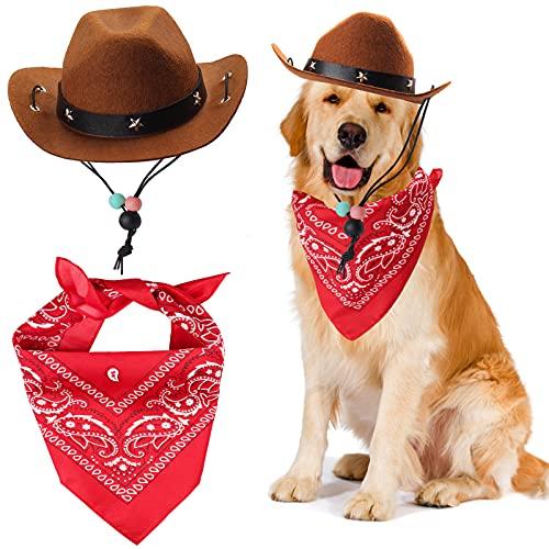 Yewong Pet Cowboy Costume Accessories Dog Cat Pet Size Cowboy Hat and Bandana Scarf West Cowboy...