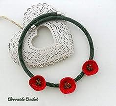 collar amapolas de ganchillo, collar tejido con flores