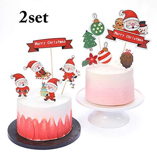 JUSTDOLIFE 11 STKS Kerst Taart Topper Mooie Cartoon Santa Party Topper voor Verjaardag Party